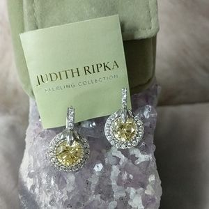 JUDITH RIPKA Canary Yellow Round Lotus Earrings